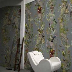 Indie Wood RUS/INDI/MICA/07 - green botanical wallpaper with birds by Timorous Beasties available through NewWall | NewWall.com