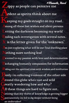 """A poem that I wrote about """"Zak Bagans"""" from the show Ghost Adventures  it spells (Zak Alexander Bagans)"""