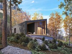 DOM.PL™ - Projekt domu MT Szyszka 2 dr-S CE - DOM MS6-82 - gotowy koszt budowy Property Design, Forest House, Interior Architecture, Beautiful Homes, House Design, Vacation, House Styles, Outdoor Decor, Modern