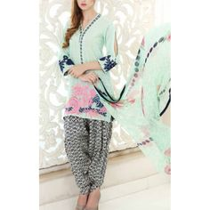 Light Sea Green Embroidered Swiss Voile Dress Contact: (702) 751-3523 Email: info@pakrobe.com Skype: PakRobe