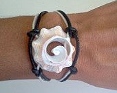 Conch Shell Black Leather Bracelet - Sun and Sea - Surf girl, exotic, one of a kind seashell jewelry