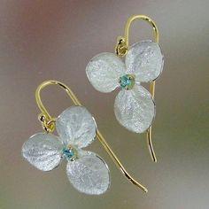Blue Topaz Hydrangea Drop Earrings Sterling by PatrickIrlaJewelry