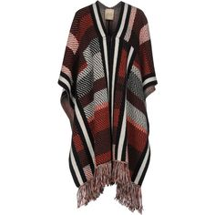 Garage Nouveau Capes & Ponchos ($180) ❤ liked on Polyvore featuring outerwear, red, red cape coat, red poncho, multi coloured poncho, style poncho and poncho cape
