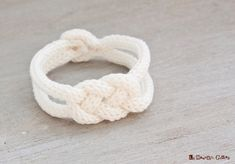 French knitted cotton bracelet  white  with by LaMauvaiseGraine, €8.80