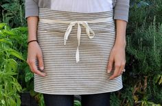 eco-friendly CAFE APRON - Indigo Stripe - Organic Cotton Hemp. $39.50, via Etsy.