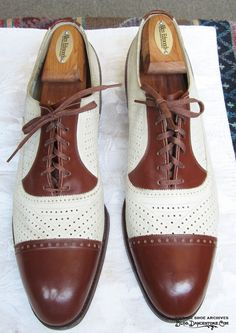 1940s-mens-club-shoes-perforated-brown-and-ivory-captoes3 Tap Shoes, Men's Shoes, Shoe Boots, Dress Shoes, Dance Shoes, Shoes Men, Spectator Shoes, Gentleman Shoes, Shiny Shoes