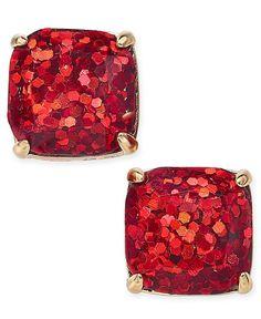 kate spade new york Gold-Tone Glitter Square Stud Earrings