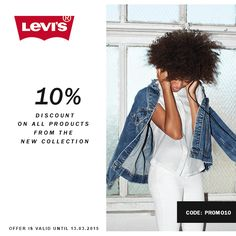 10% discount on all products from the new collection Code: PROMO10 #jeans #jeansshop #springsummer15 #spring #summer #wiosna #lato #wl15 #new #newproduct #newaccessories #newarrivals #levis #liveinlevis #leviscollection #promotion #discount