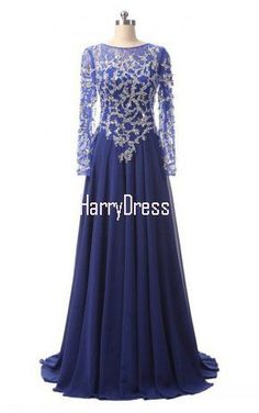 A Line Scoop Neck Lace Chiffon Sweep Train Beading Royal Blue Long Prom Dress