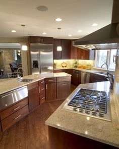 medium brown cabinet light counter top