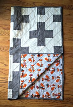 Gray and White Plus Sign Crib/Toddler Quilt