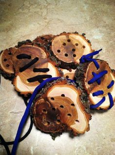 Lacing logs for little hands! Made out of mountain mahogany hard wood! - My intentional Play ≈≈