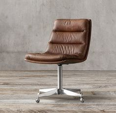 Griffith Leather Desk Chair in pewter for the loft