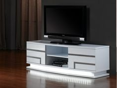 Meuble TV LUMINESCENCE IV - MDF laqué blanc et LEDs