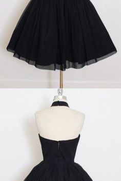 Sale Nice Short Ball Gown Prom Dresses, Black Sleeveless Homecoming Dress With Pleated Mini Homecoming Dresses Backless Prom Dresses, Black Prom Dresses, Lace Evening Dresses, Homecoming Dresses, Halter Neck, Custom Made, Ball Gowns, Ballet Skirt, Store