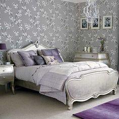 purple & grey bedroom