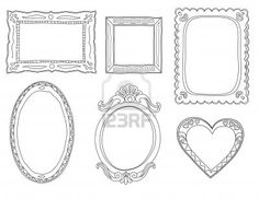 Set of hand-drawn doodle frames  Stock Photo