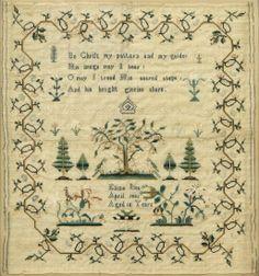 Framed needlework sampler by Eliza Iles, 1821
