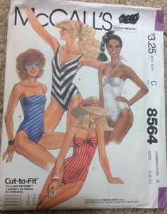 Vintage 1983 McCall's #8564 Cut to Fit Misses Bathing Suit- Size Multi sized 6-8-10 by AnnieFannyFooFoo on Etsy