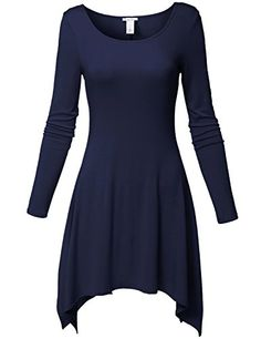 Asymmetric Bottom Hem Round Neck Simple Short Dresses ** Check this awesome product by going to the link at the image.