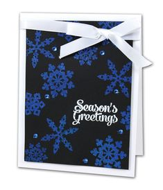 Black & Blue Snowflakes Card -  click through for project instructions.