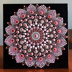 This beautiful representation of a mandala is an original design and each dot is carefully placed with my hands onto an x canvas board using acrylic paint from my small art studio in Portland, Oregon. It has been signed by me on the back and finishe Rock Painting Patterns, Dot Art Painting, Mandala Painting, Mandala Drawing, Stone Painting, Mandala Canvas, Mandala Art Lesson, Mandala Rocks, Small Art