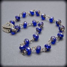 Sapphire Blue Necklace with glass beads