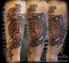 Pocketwatch and acanthus leaf ornaments. Black and grey fun, sleeve in progress. Camilla, Memento Tattoo - Oslo, Norway