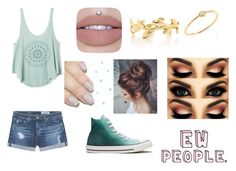 """Ewww people!"" by delaney51504 ❤ liked on Polyvore featuring RVCA, AG Adriano Goldschmied, Converse, Sydney Evan and Tiffany & Co."