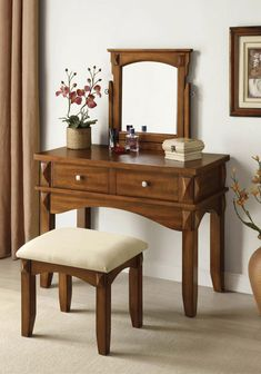 Ria Espresso Makeup Table Set Vanity