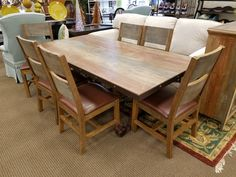 This beautifully crafted solid mango wood dining table and 6 chairs is priced at $1695.