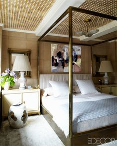 The guest bedroom of actress Cameron Diaz's Manhattan apartment, designed by Kelly Wearstler.