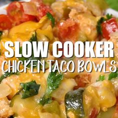 This Slow Cooker Chicken Taco Bowls Recipe is so simple – set and forget it and come home to a delicious low calorie Mexican dinner the whole family will love! Bursting with flavor, great for a paleo…More Awesome Low Carb Slowcooker Ideas Crock Pot Recipes, Crock Pot Cooking, Slow Cooker Recipes, Diet Recipes, Cooking Recipes, Healthy Recipes, Superbowl Crockpot Recipes, Paleo Recipes For Kids, Low Calorie Recipes Crockpot