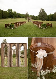 Loving This Country Chic Wedding In Tennessee! The Outdoor Ceremony Is  Breathtaking! Treasure Chest Offers Vintage Church Window Frames And 6  Church Pews To ...