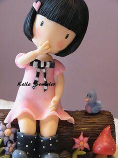 girl porcelana fria polymer claymasa flexible pasta francesa fimo topper fondant figurine