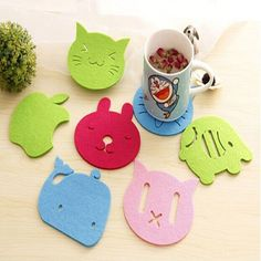 Animal shape wool felts coaster. Unique and colorful design. Decorate your home and table. Heat insulation and Keep clean.