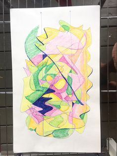 """GyasiO; Ink lines & crayon on paper 2017 """"Green/Pink"""" . An abstraction of composition using line gestures and colour theory with a strict use of the rule of thirds."""