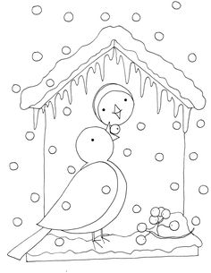 Birdhouse, cottages, trees, and landscape embroidery patterns Embroidery Applique, Embroidery Patterns, Stitch Patterns, Pattern Coloring Pages, Coloring Book Pages, Blackwork, Bird Quilt, Patch Aplique, Christmas Coloring Pages