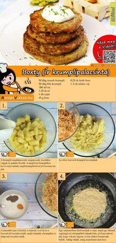 Boxty (Irish potato pancake) recipe with video - Irish cuisine - Do you love potato pancakes? Then make Boxty (Irish potato pancakes)! No Salt Recipes, Dutch Recipes, Hungarian Recipes, Veggie Recipes, Cooking Recipes, Healthy Recipes, Vegan Appetizers, Morning Food, Breakfast Recipes