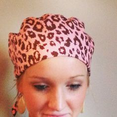 Pink and. Brown leopard print surgical scrub hat