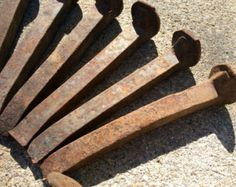 Pair of Vintage Antique Rusty Railroad Ties by eclectic2violet