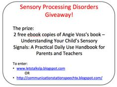 Lets Talk Speech-Language Pathology: Sensory Processing Disorder ebook Giveaway! (ends 4/26/13) Pinned by SOS Inc. Resources. Follow all our boards at pinterest.com/sostherapy for therapy resources.