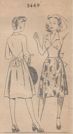 "1940s Vintage Sewing Pattern B32"" SKIRT & HALTER-NECK TOP  (173)"