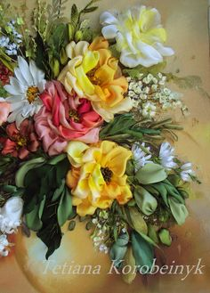 Tenderness, To order, silk ribbon embroidery, fabric flowers, embroidered picture
