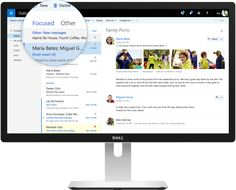 web page that shows outlook.com with focused