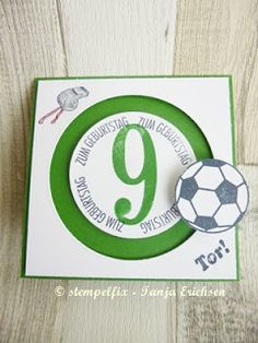 Stempelfix: Spinnercard / Kullerkarte für Fußballfans zum Geburtstag