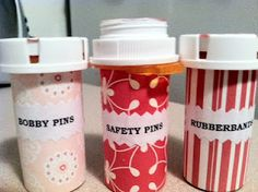 Recycle old prescription bottles for organizing containers DIY project. Love this. Hate throwing them all away.