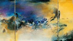"""Zao's paintings were known for their lyrical qualities: oscillating planes of color, light, and shade met, collided, and diverged, skidding across the surface of his works. Here is his 1982 triptych """"27.08.82,"""" an oil on canvas."""