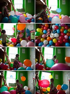 Outdoor tent filled with balloons