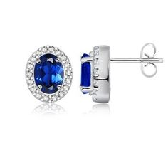 Classic Oval Lab Created Sapphire Earrings with Diamond Border in 10K White Gold